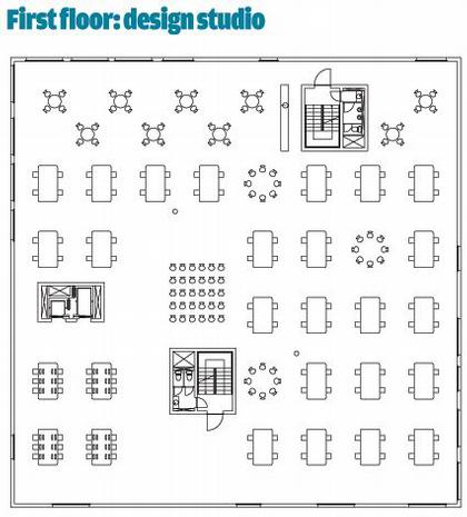Школа менеджмента и дизайна Цольферайн. План 2-го этажа © SANAA