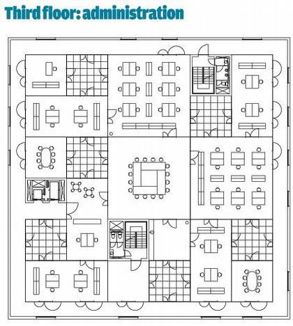 Школа менеджмента и дизайна Цольферайн. План 4-го этажа © SANAA