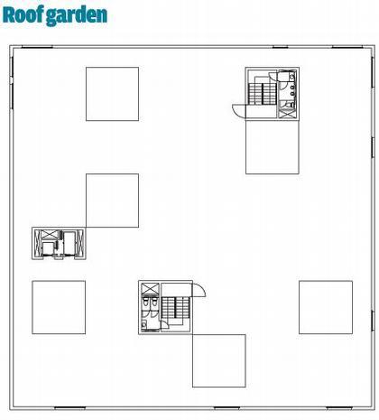Школа менеджмента и дизайна Цольферайн. План сада на крыше здания © SANAA