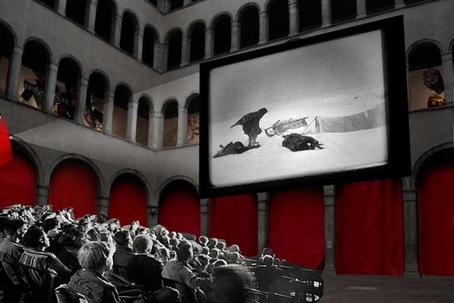 Проект реконструкции Фондако деи Тедески. Внутренний двор - кинотеатр © OMA