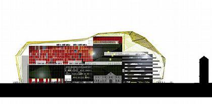 Доминик Перро. Проект нового здания Мариинского театра. Разрез