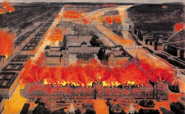 Пожар, уничтоживший дворецТюильри в Париже в 1871 году