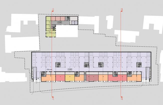 Конкурсный проект жилого комплекса на территории ОАО «Гардтекс». План -1 этажа