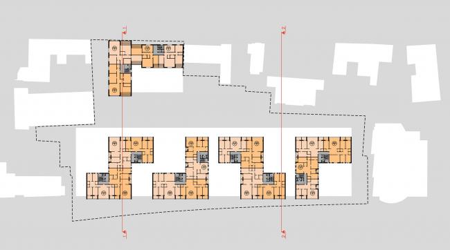 Конкурсный проект жилого комплекса на территории ОАО «Гардтекс». План типового этажа