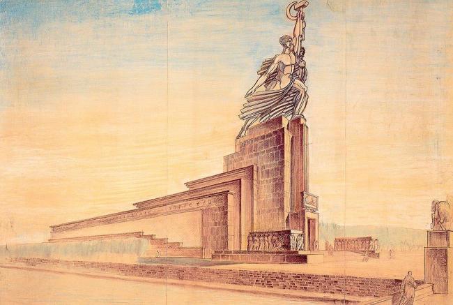 Проект павильона для Парижской выставки 1937 г. Б. Иофан. ГНИМА им. А.В. Щусева