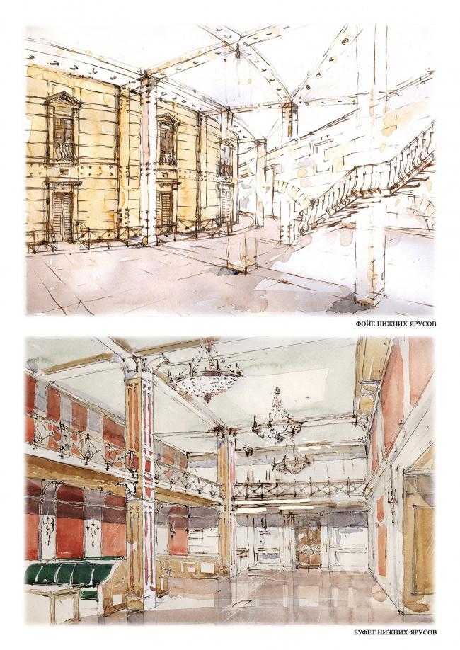 Подземная часть зрительской зоны Большого театра © мастерская Павла Андреева, 2009-2010
