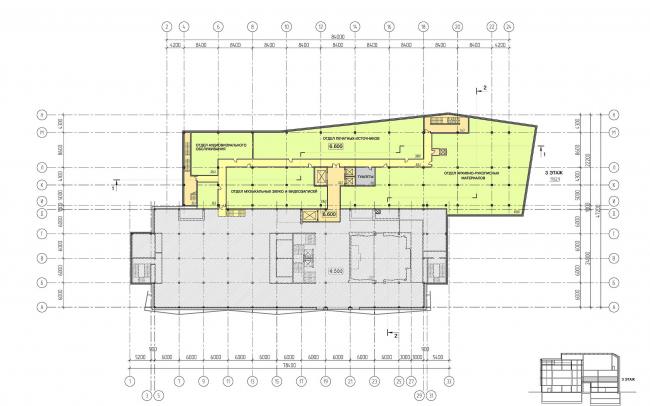 Предпроектное предложение по капитальному ремонту и реконструкции основного здания ГЦММК им. М.И.Глинки с пристройкой фондохранилища с реставрационными мастерскими и экспозиционно-выставочными и лекционно-концертными залами. План первого этажа