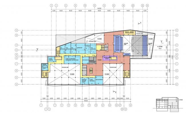 Предпроектное предложение по капитальному ремонту и реконструкции основного здания ГЦММК им. М.И.Глинки с пристройкой фондохранилища с реставрационными мастерскими и экспозиционно-выставочными и лекционно-концертными залами. План шестого этажа