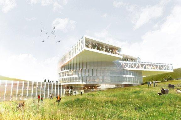 Бьярке Ингельс Груп, BIG и Fuglark. Образовательный центр Фарерских островов, Дания.  Визуализация © BIG