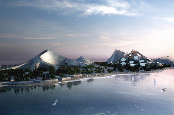 Бьярке Ингельс Груп, BIG. Семь вершин Азербайджана, остров Зира, вид сверху.   Визуализация © BIG