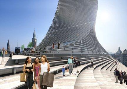 Проект башни Scala, Копенгаген, Дания.  Визуализация © BIG