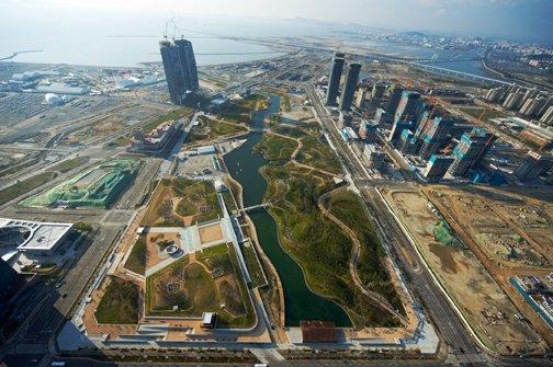 Строительство Международного бизнес дистрикта Songdo, Сеул, Корея