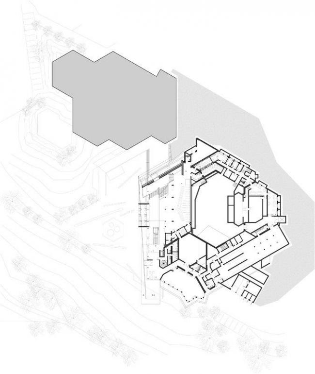 Центр культуры и конгрессов Штадтхалле Балинген – реконструкция. План 1-го этажа © 4a Architekten