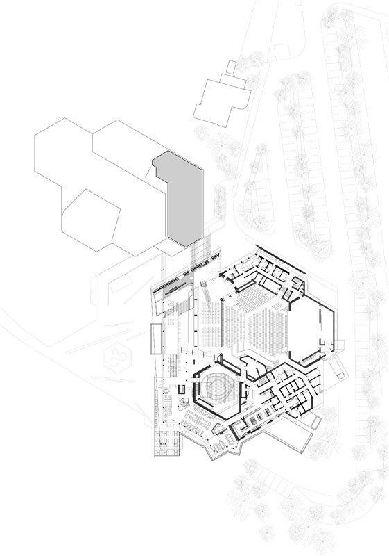 Центр культуры и конгрессов Штадтхалле Балинген – реконструкция. План верхнего этажа © 4a Architekten