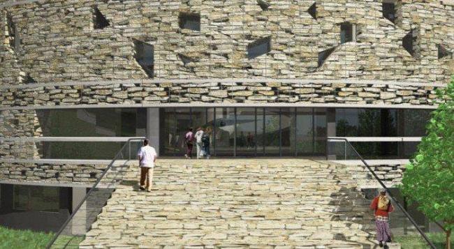 Алезия – музейный и археологический парк. Музей. Главный вход. Визуализация © Bernard Tschumi Architects