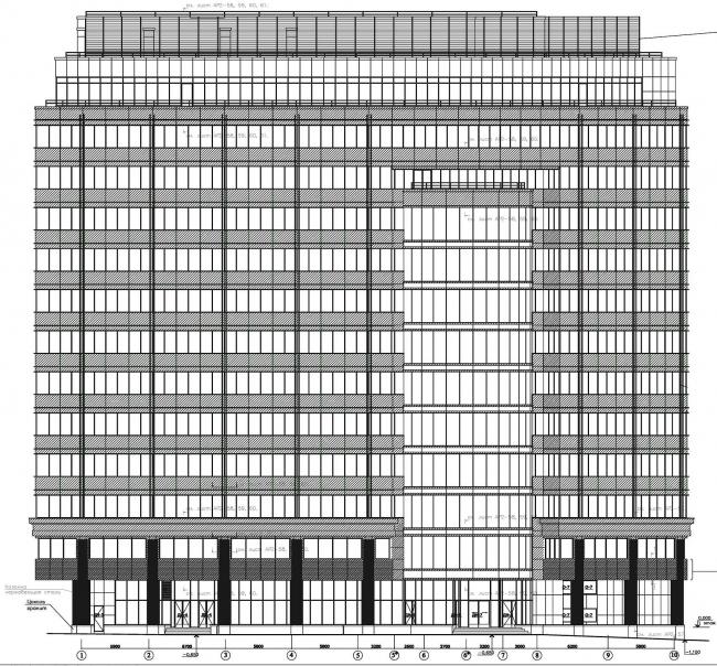 Общественно-административное здание с офисными помещениями. Схема главного фасада © Архитектурная мастерская Павла Андреева