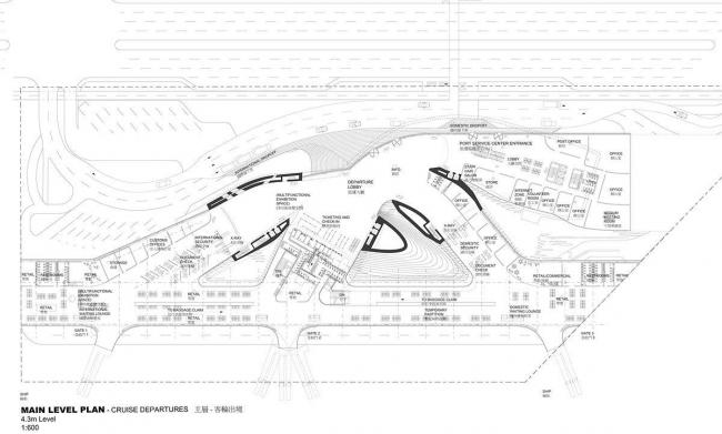 Терминал порта Гаосюна. План 1-го уровня. Зал отправления круизных судов