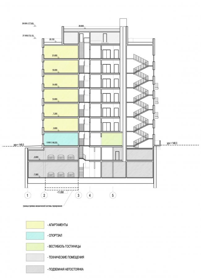 Дом в Электрическом переулке, 2010. Разрез 1-1 © Мастерская архитектора Бавыкина