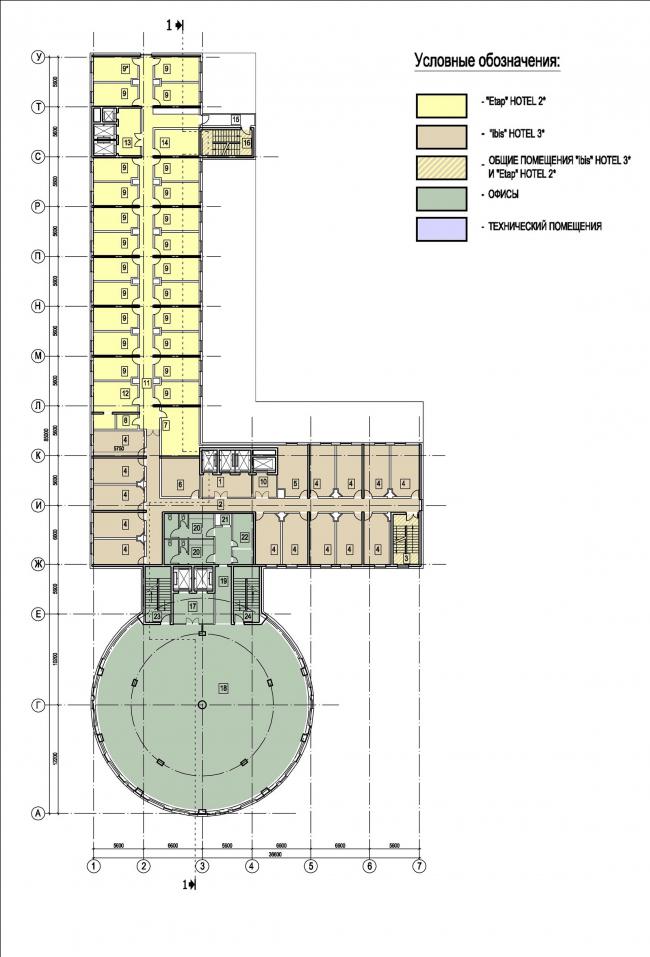 План типового этажа гостиницы