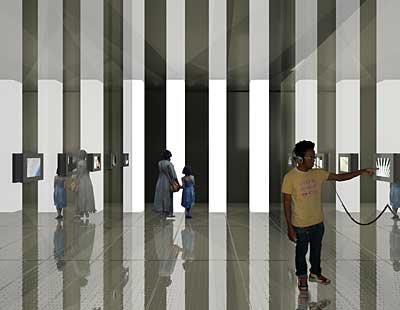 """Вид зала выставки """"Гиганты: «Башни-близнецы» и двадцатый век"""" в нью-йоркском Музее небоскребов"""