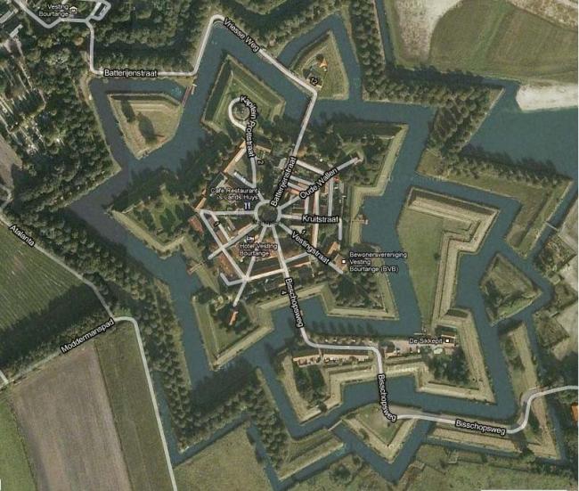 Крепость Буртанж, Нидерланды. Иллюстрация: http://maps.google.com/