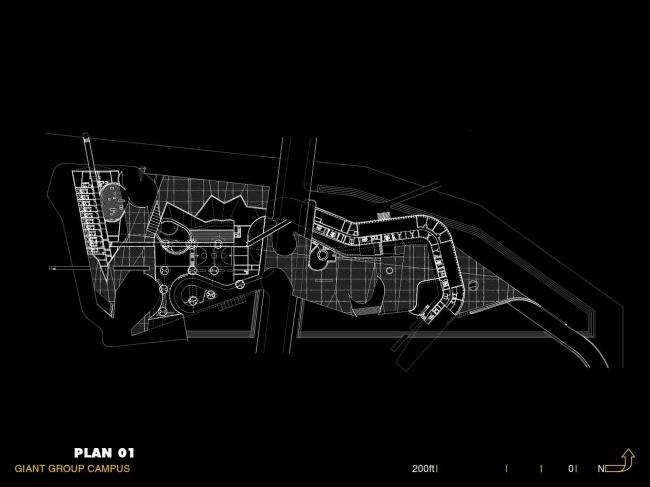 Штаб-квартира компании Giant Interactive Group. План 1-го этажа. Иллюстрация с сайта morphopedia.com
