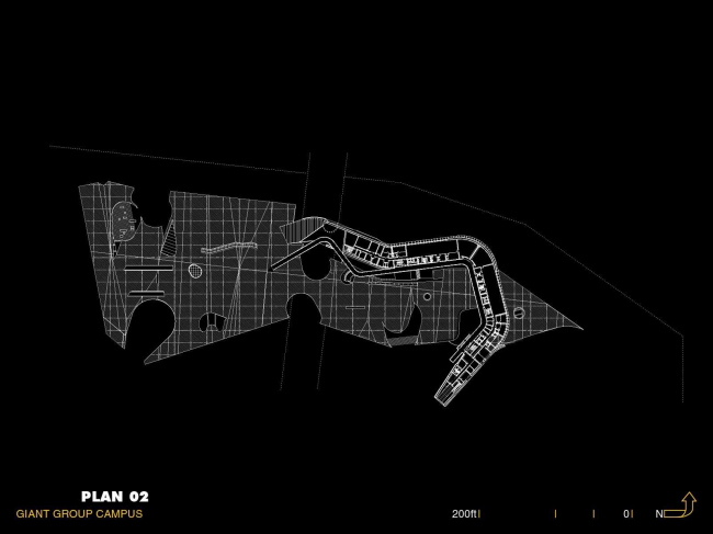 Штаб-квартира компании Giant Interactive Group. План 2-го этажа. Иллюстрация с сайта morphopedia.com