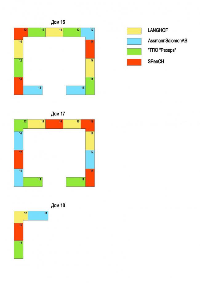 Схема деления фасадов. Первая очередь жилой застройки микрогорода «В лесу», 2011 г. © SPEECH