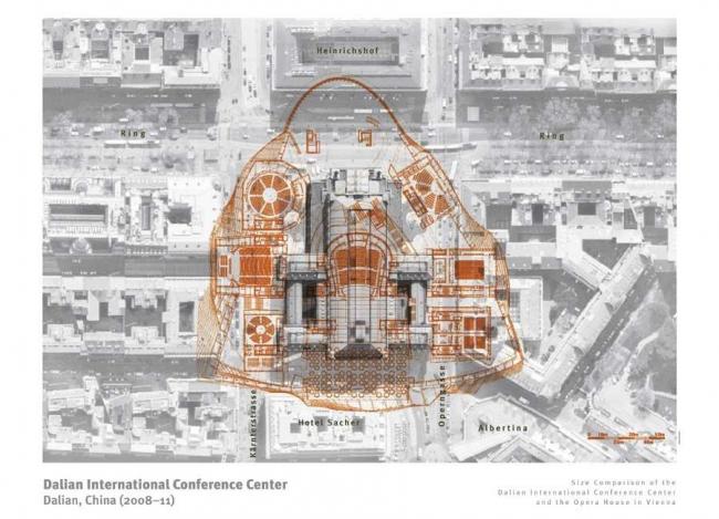 Даляньский международный конференц-центр. Сравнение размеров с Венским оперным театром © Coop Himmelb(l)au