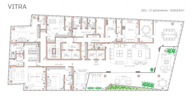 Башня Vitra. План 2-го этажа © Studio Libeskind