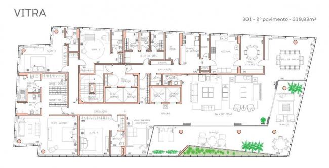 Башня Vitra. План 3-го этажа © Studio Libeskind