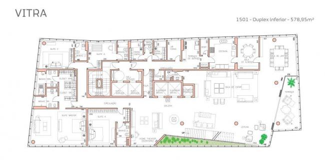 Башня Vitra. План 1-го яруса пентхауса © Studio Libeskind