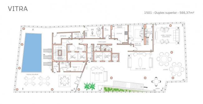 Башня Vitra. План 2-го яруса пентхауса © Studio Libeskind