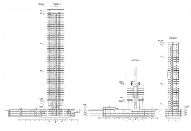 Разрезы: 20-метровой башни (блок А), соединяющего копуса (блок Б) и корпуса-пластины(блок В)