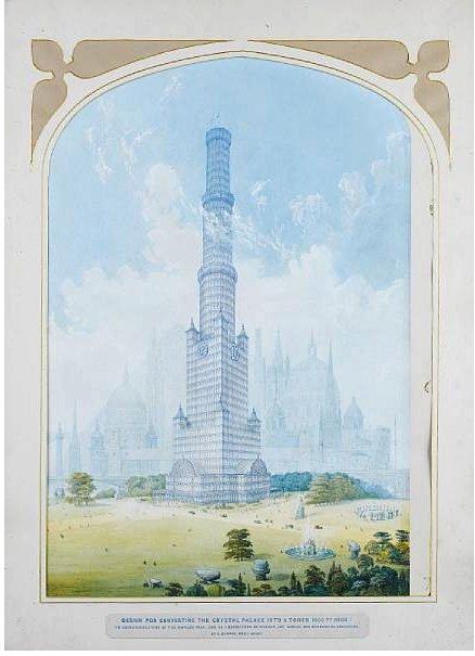 Проект башни Чарльза Бертона. 1851-52. Изображение с сайта gizmag.com