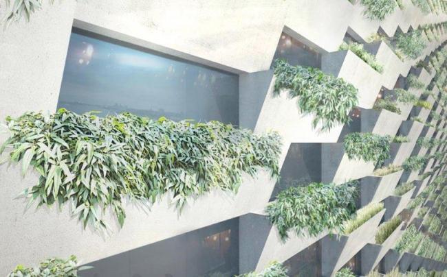 Мусороперерабатывающий завод и горнолыжный склон Amagerforbraending. Зеленая стена © BIG Archtects