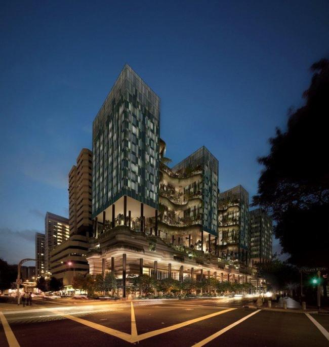 Отель Vertical Park, Сингапур, бюро WOHA c) WOHA, источник изображения openbuildings.com