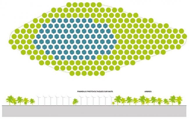 Комплекс Tena Tower – Tena Lakes. Схема расположения солнечных батарей © Manuelle Gautrand Architecture – © Luxigon