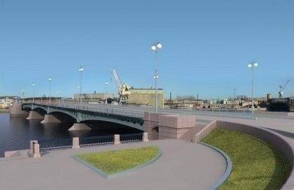 Строительство Ново-Адмиралтейского моста в Санкт-Петербурге