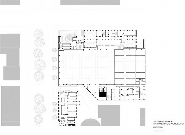 Северо-западный угловой корпус Колумбийского университета. План 2-го этажа