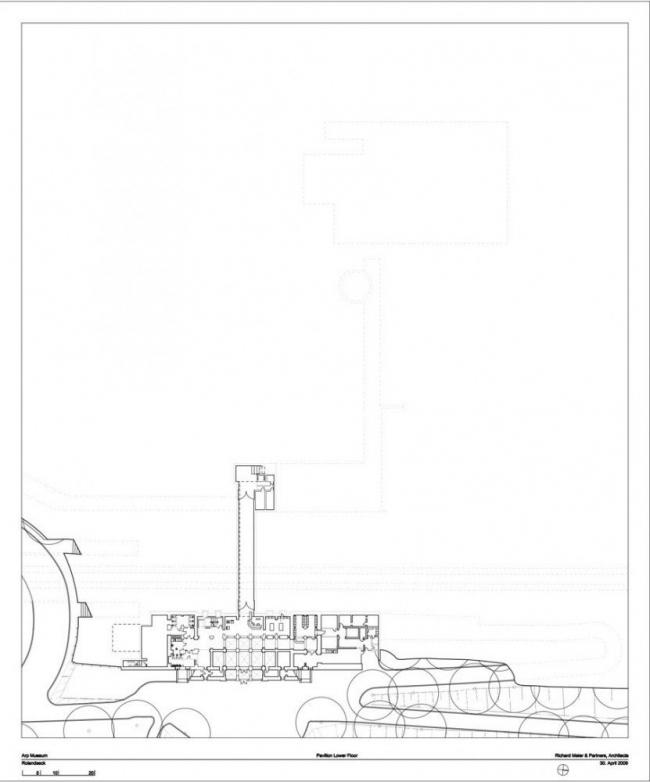 Музей Ханса Арпа. План нижнего яруса павильона © Richard Meier & Partners Architects LLP
