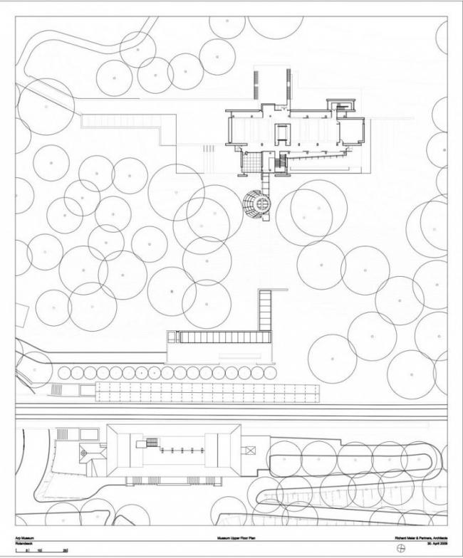 Музей Ханса Арпа. План 3-го этажа © Richard Meier & Partners Architects LLP