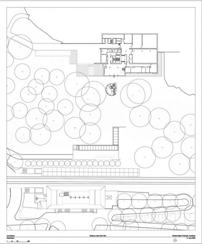 Музей Ханса Арпа. План 1-го этажа © Richard Meier & Partners Architects LLP