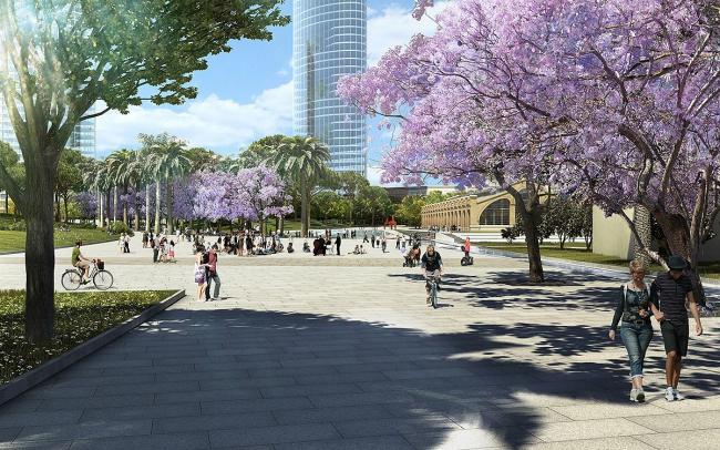 Центральный парк Валенсии. Вид от Центральной площади на Площадь искусств © Gustafson Porter