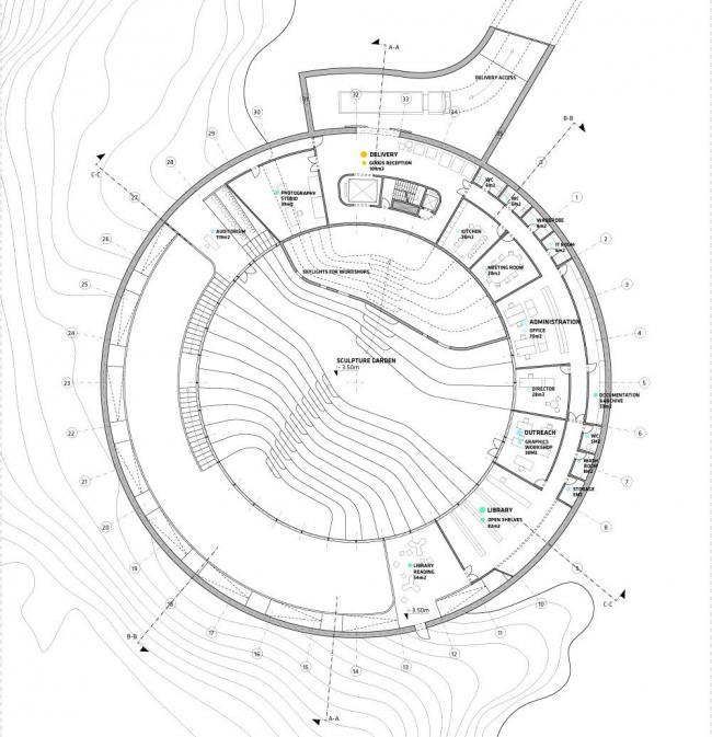 Национальная галерея Гренландии. План уровня -1 © BIG
