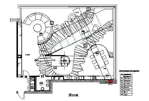Пентхаус на Шаболовке. План 1 этажа © Архитектурная мастерская Сергея Эстрина