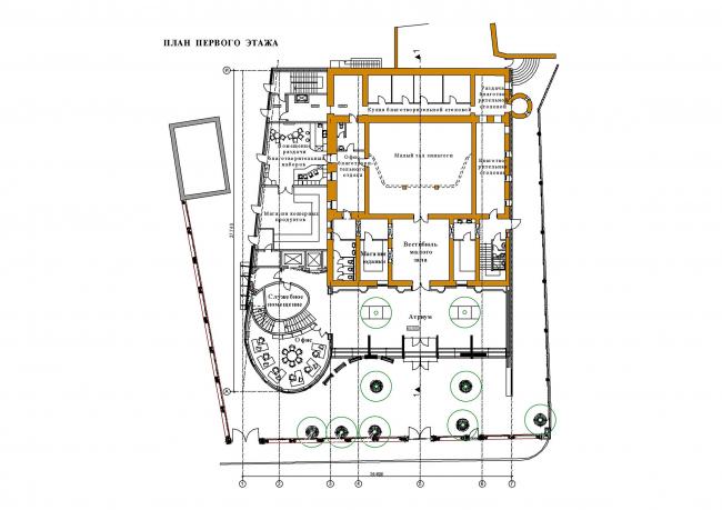 Реконструкция здания синагоги на Большой Бронной. План 1 этажа © Сергей Эстрин