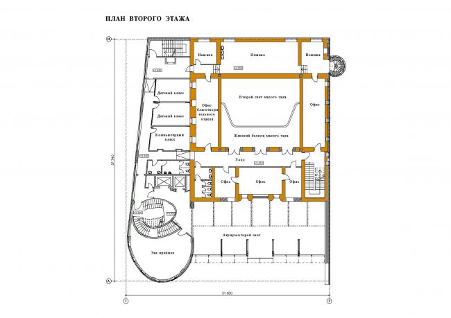 Реконструкция здания синагоги на Большой Бронной. План 2 этажа © Сергей Эстрин