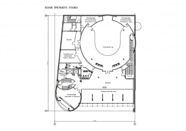 Реконструкция здания синагоги на Большой Бронной. План 3 этажа © Сергей Эстрин