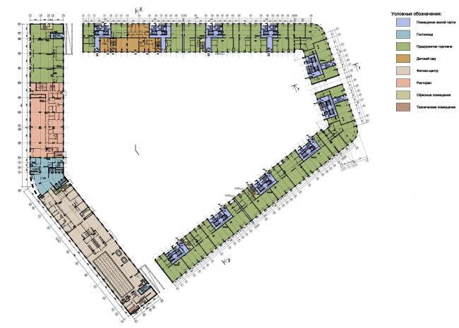 """План первого этажа жилого комплекса """"YE′S"""" © Евгений Герасимов и Партнеры"""